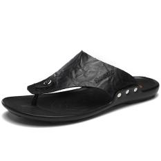 Spesifikasi Sandal Kulit Pria Flat Hitam Hitam Murah