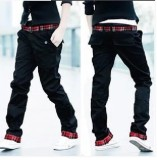 Spesifikasi Pria Korea Fashion Style Ganda Celana Pria Celana Lurus Ikat Pinggang Coklat Muda Warna Khaki Dan Harga