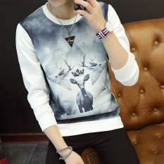Review Bushenbinni Sweater Pria Aneka Warna Ditambah Beludru Membentuk Tubuh Tiga Kepala Rusa Putih Oem