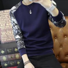 Toko Atasan Pria Lengan Panjang Membentuk Tubuh Trendi Versi Korea W36 Biru Tua Tiongkok