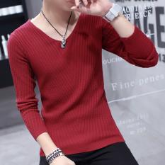 Jual Beli Lengan Lengan Panjang Pria Kerah V Musim Semi Baju Dalaman Kaos Merah Anggur Tiongkok