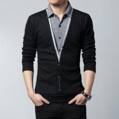 Jual Longgar Pria Seolah Olah Dua Potongan Kerah Kemeja Xl Kaos Musim Semi Lengan Panjang Kaos 6237 Model Konvensional Hitam Branded Murah