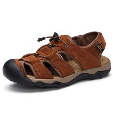Sepatu Pantai Pria Ujung Tutup Tembus Angin Awet Ringan (Coklat Muda)
