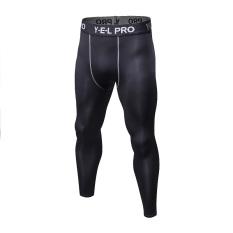 Celana Ketat Bagian Tipis Celana Panjang Pria Pelatihan Bawahan (Hitam)