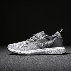 Toko Pria Ringan Sneakers Dilengkapi Ventilasi Mesh Sepatu Kasual Olahraga Grey Dekat Sini
