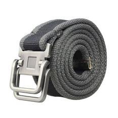 Pria Sabuk Men's Canvas Double Metal Buckle Belt - Abu-abu