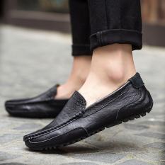 Promo Sepatu Pria Gaya Loafers Kasual Warna Hitam Akhir Tahun
