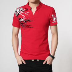 Daftar Harga Pria V Neck Longgar Untuk Meningkatkan Kode Pria Kemeja Musim Panas Lengan Pendek T Shirt 3012 Merah Oem
