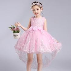 Gadis Bunga Putri Gaun untuk Pesta Pernikahan Bridesmaid Kids Bow Trailing Renda Tulle Tutu Gaun