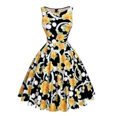 Cetak Floral 50 S 60 S Vintage Gaun Audrey Hepburn Tanpa Lengan 2016 Baru Musim Panas Gaun Retro Vestidos Robe Womens Pakaian = Ukuran: S = Warna: Pakaian Murah China1-Intl