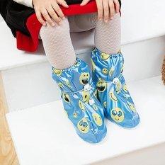 Tercetak Bekas Pakai Sepatu Hujan Cover untuk ChildrenThicken Waterproof Boots Siklus Hujan Flat Slip-Resistant Overshoes (Biru) -Int'l-Intl
