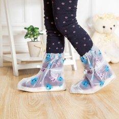 Tercetak Bekas Pakai Sepatu Hujan Cover untuk ChildrenThicken Waterproof Boots Siklus Hujan Flat Slip-Resistant Overshoes-Int'l-Intl
