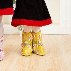 Tercetak Bekas Pakai Sepatu Hujan Cover untuk ChildrenThicken Waterproof Boots Siklus Hujan Flat Slip-Resistant Overshoes (Kuning Muda) -Int'l-Intl