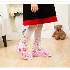 Tercetak Bekas Pakai Sepatu Hujan Cover untuk ChildrenThicken Waterproof Boots Siklus Hujan Flat Slip-Resistant Overshoes (Putih) -Int'l-Intl