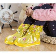 Tercetak Bekas Pakai Sepatu Hujan Cover untuk ChildrenThicken Waterproof Boots Siklus Hujan Flat Slip-Resistant Overshoes (Kuning-2) -Int'l-Intl