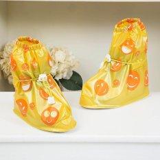 Tercetak Bekas Pakai Sepatu Hujan Cover untuk ChildrenThicken Waterproof Boots Siklus Hujan Flat Slip-Resistant Overshoes (Kuning) -Int'l-Intl