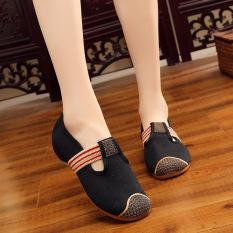 Diskon Produk Baru Su Upgrade Lebih Tebal Sepatu Pernikahan Bordir Sepatu Kain Hitam Sepatu Wanita Flat Shoes Tiongkok