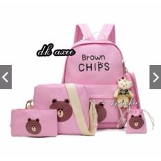 PROMO FREE ONGKIR Tas Ransel Wanita Paket 4in1 Motif Brown Chips supplier tas  wanita murah 2f2734fcfc