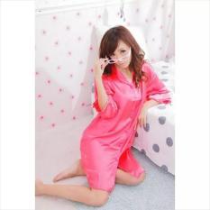 PROMO GAJIAN !!! Daster Kemeja Satin Dress / Baju Tidur Kancing Depan ( Daster Ibu Menyusui / Busui ) Warna Hot Pink Cantik