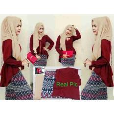 Promo Hijab Maroon Peplum Tribal Set 3In1 Termurah
