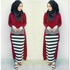 Promo Hijab Monika Jersey Stripe Set 3In1 Maroon Termurah