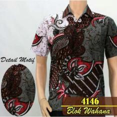 Kualitas Promo Kemeja Batik Pria Lengan Pendek Motif Blok Wahana Batik Solo Pekalongan Terlaris Batik