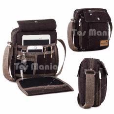 PROMO !!! Murah Tas Slempang Import Uncle Star Kanvas Militer Slempang Messenger Shoulder Bag - Dark Brown