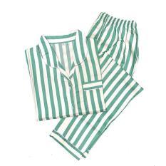 Promo Piyama Mewah Hijau Garis Stripes Cotton Baju Tidur Wanita Cewek PK25 Diskon