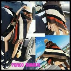 Jual Promo Ponco Rumbai 3Tone Brownies Knit Termurah Multi Online