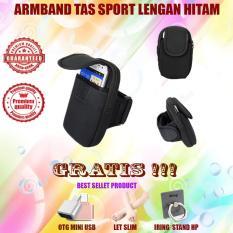 Armband Tas Sport Lengan Smartphone 2 Pouch Uk L - Hitam Gratis Let's slim + Usb Otg + Iring Stand