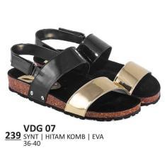 Promo Sandal Flat / Kasual / Lifestyle Wanita - VDG 07 HITAM Murah Best Seller
