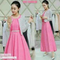 Promo Set Dress Pink Lilian Polka Babyterry Termurah