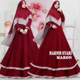 Ulasan Tentang Promosi Murah Baju Busana Muslim Gamis Harnis Syari Maroon Bergo Antem