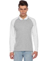 Promosi Pria Casual Raglan Warna Kontras Lengan Panjang Zip-up Polo Shirt (Pure White)-Intl