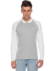 Promotion Men Casual Raglan Long Sleeve Contrast Color Zip-up Polo Shirt (Pure White) - intl