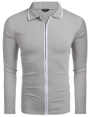 Promosi Pria Menanggalkan Collar Long Sleeve Full Zip Polo Kasual (Abu-abu)-Internasional