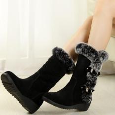 Promosi Baru Fashion Wanita Flat Salju Sepatu Kasual Musim Dingin Yang Menebal Hangat Faux Fur Sepatu (Hitam)-Intl