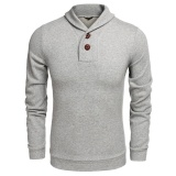 Jual Promosi Sunwonder Busana Pria Casual Shawl Collar Dengan 2 Tombol Point Long Sleeve Solid Pullover Sweatshirt Sweats Intl Not Specified Grosir