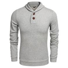 Spesifikasi Promosi Sunwonder Busana Pria Casual Shawl Collar Dengan 2 Tombol Point Long Sleeve Solid Pullover Sweatshirt Sweats Intl