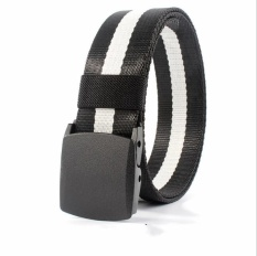 (Promotional) canvas quick-drying belt, nylon belt, anti-allergic plastic buckle no metal belt, jeans belt, outdoor leisure, security (black and white) - intl