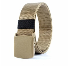 (Promotional) canvas quick-drying belt, nylon belt, anti-allergic plastic buckle no metal belt, jeans belt, outdoor leisure, security (Khaki) - intl