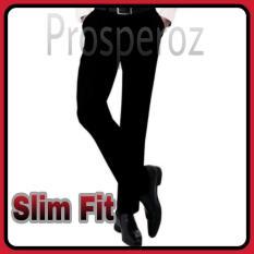 Prosperoz -  PROMO - Celana Pria Hitam Kerja Kantor Formal Panjang- Bahan Kain Teflon / Twist - Slim Fit