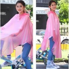 Puding Double Atap Cap Helm Dilepas Fashion Raincoat Poncho Pink-Intl
