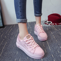 Pudding Korean Version Of The Lace Casual Wild Sneakers Pink Intl Tiongkok Diskon