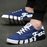 Harga Puding Pria Kanvas Sepatu Bantuan Rendah Fashion Kain Sepatu Sneakers Breathable Leisure Students Biru Asli