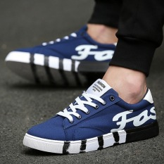 Toko Puding Pria Kanvas Sepatu Bantuan Rendah Fashion Kain Sepatu Sneakers Breathable Leisure Students Biru Murah Tiongkok