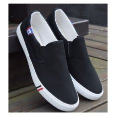Harga Puding Santai Pria Pelajar Sepatu Kanvas Hitam Asli Ome