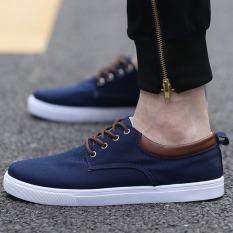 Jual Beli Puding Sepatu Kanvas Sepatu Kasual Pria Mahasiswa Biru Laut Baru Tiongkok