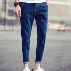 Puding Pria Fashion Slim Jeans Dark Blue Intl Oem Murah Di Tiongkok