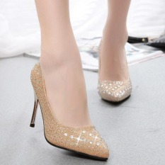 Review Puding Dangkal Mulut Sepatu Bertumit Tinggi Emas Internasional Ome Di Tiongkok